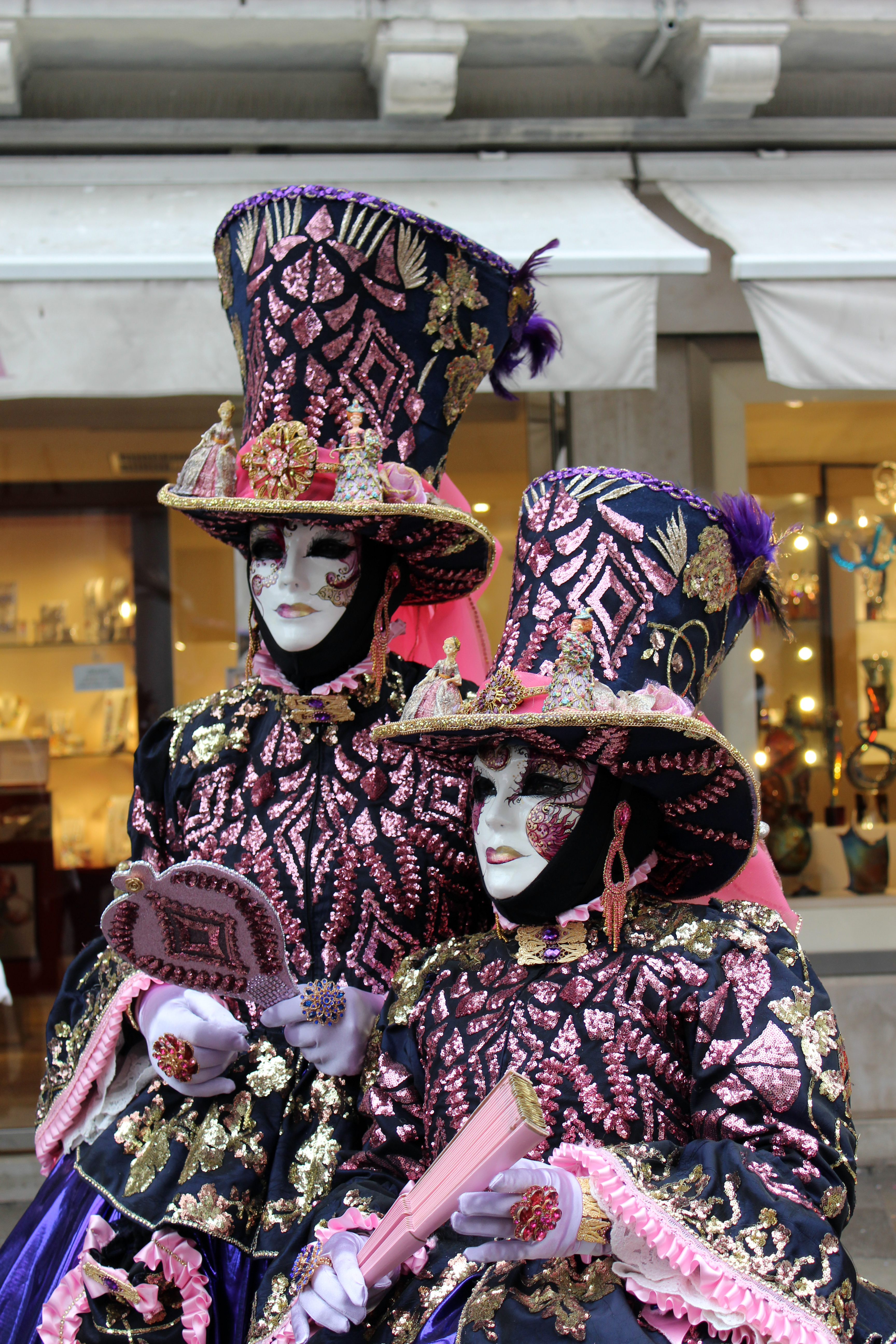 Matching Purple Masquerades in Venice Italy during Carnevale