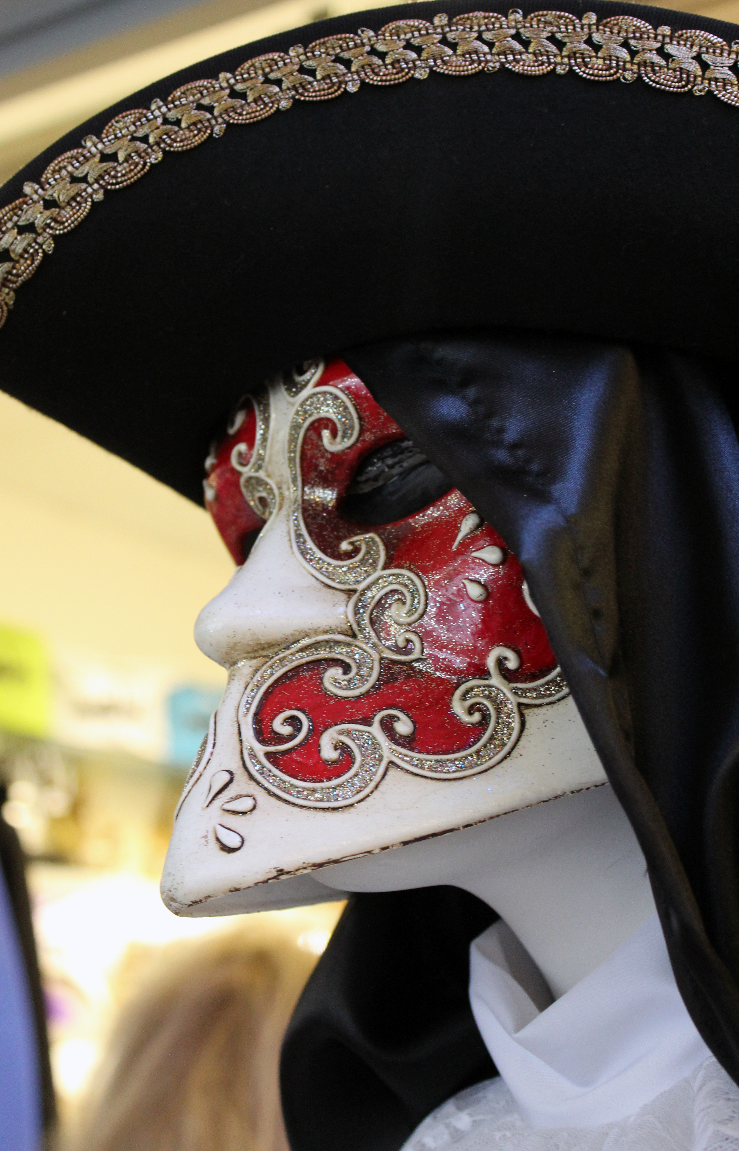 Red and Black Mask in Venice Italy during Carnevale