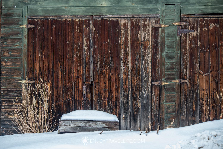 Winter in Bethel Maine | Barn Doors in Snow