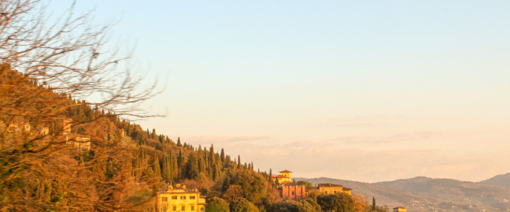 sunset over florence Italian villa