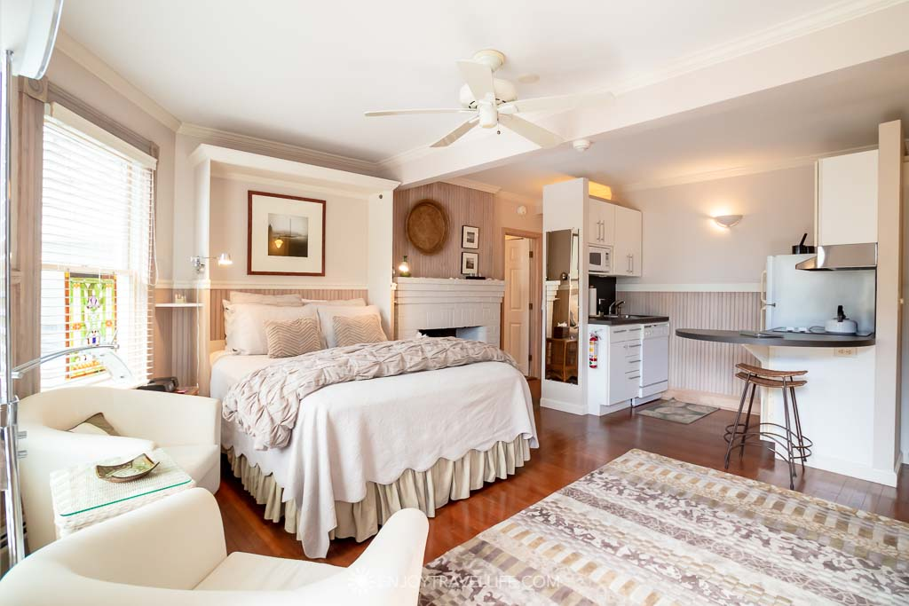 Full kitchenette in spacious Falmouth accommodations