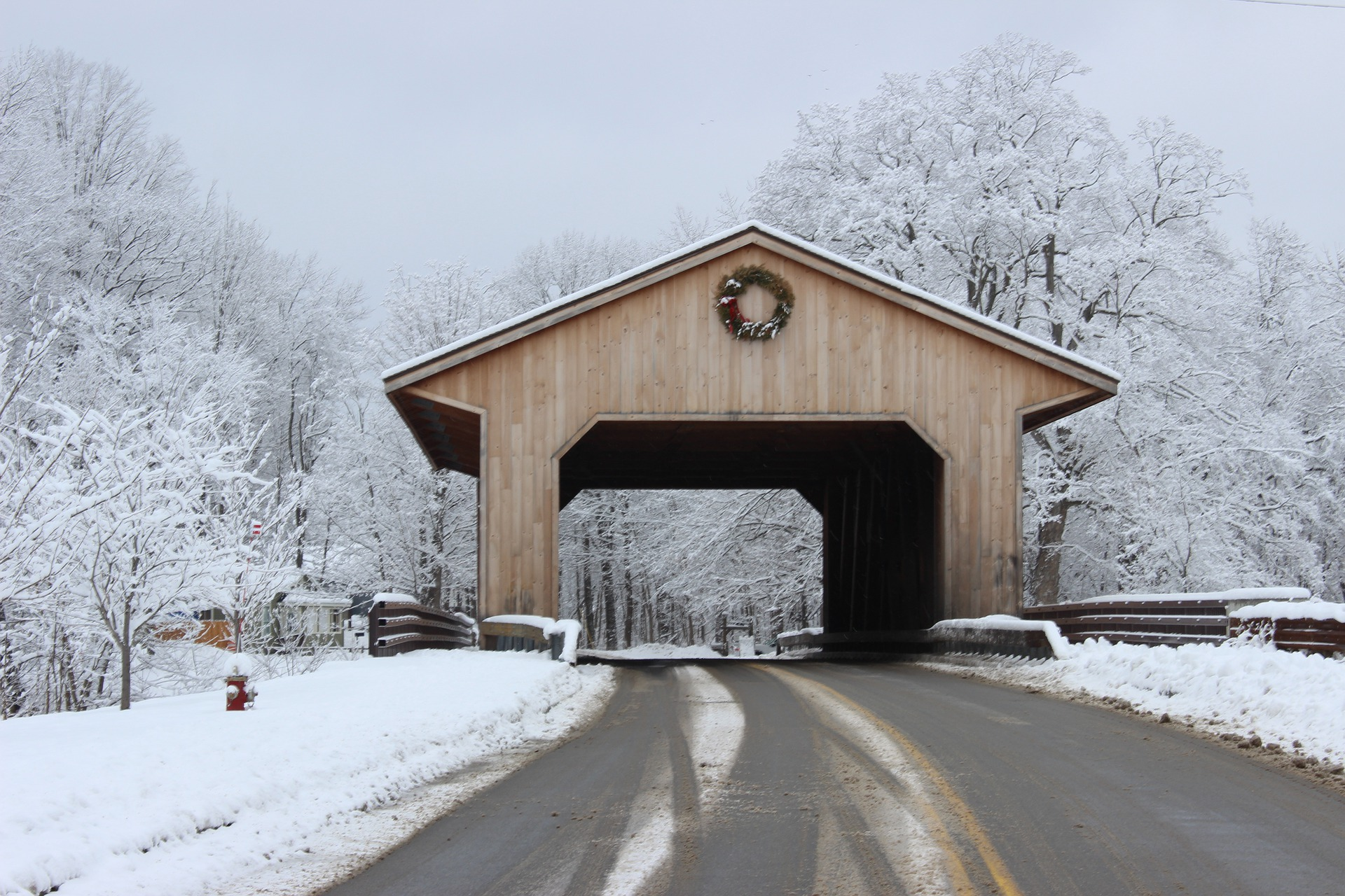 New England Winter Getaways | A Snowy Covered Bridge