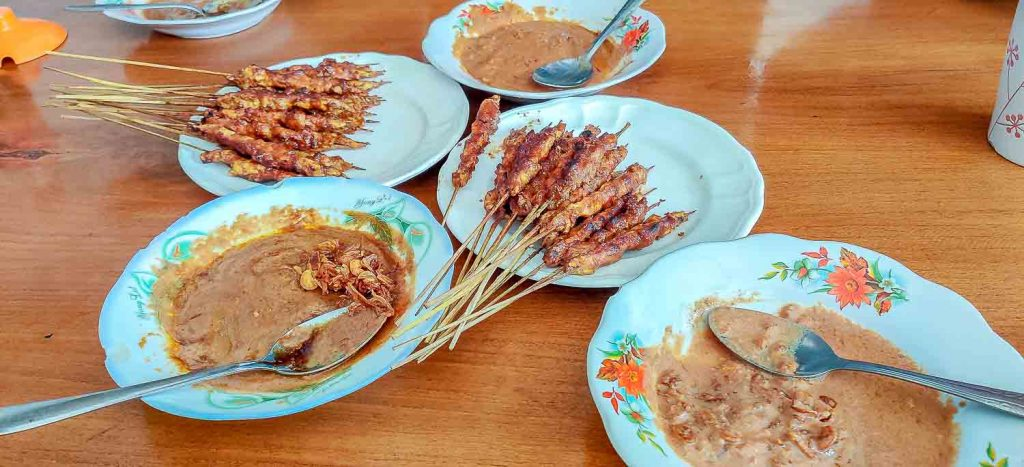 Satays with peanut sauce from Indonesia