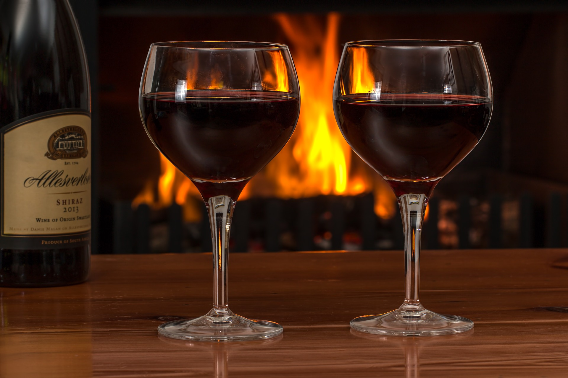 wine by the fire - romantic hotels