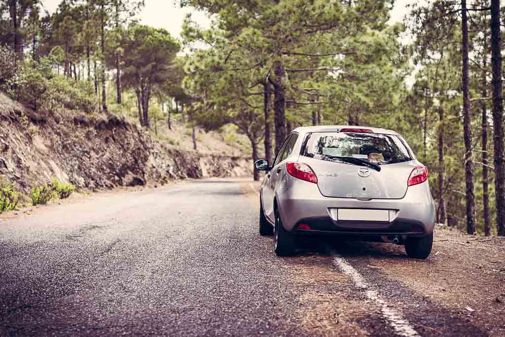 Planning a road trip, silver car on wooded road