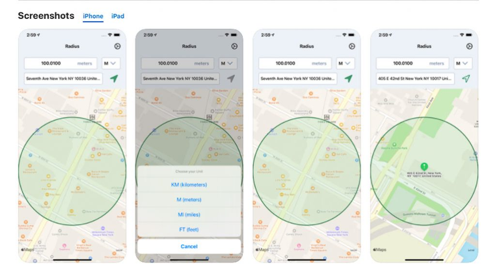 Screen shots on the app store (IOS) of the map radius tool, Radius: Distance From Me