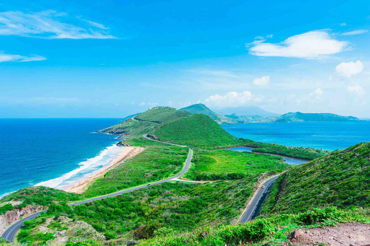 Best places for American Expats: a winding road traverses the tropical island of St Kitts.