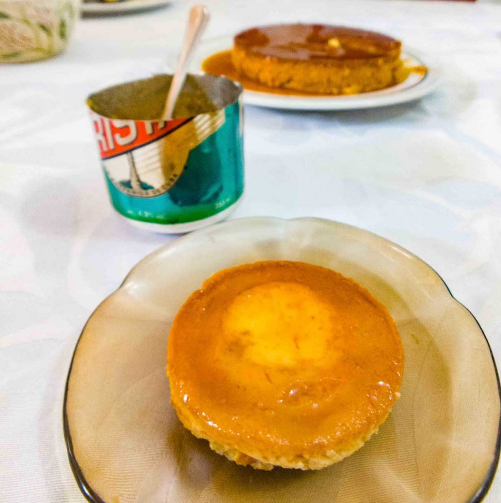 Flan Cubano with a recycled beer can used in making it