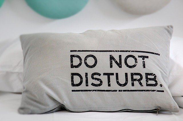 gray pillow with black lettering that reads Do Not Disturb
