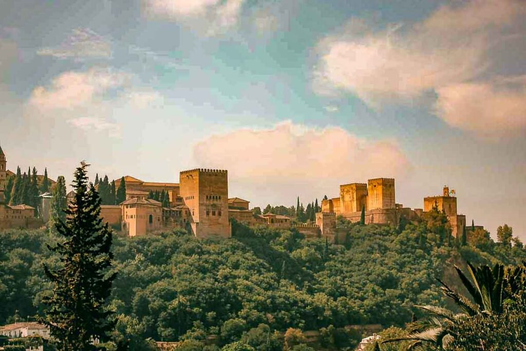 A view of the Alhambra, a fortress on the hill.