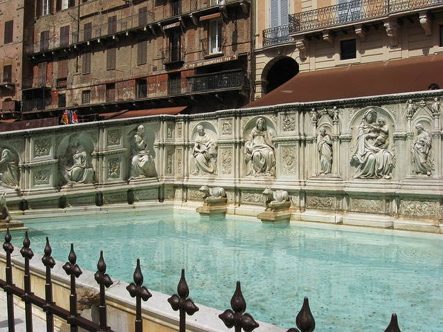 The basin of Fonte Gaia's filled with water and surrounded by bas reliefs and iron work.