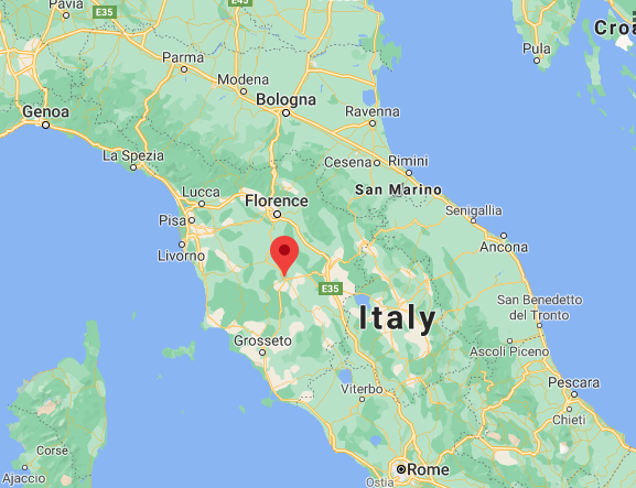Google map of Italy with a pin on Siena located between Florence and Rome
