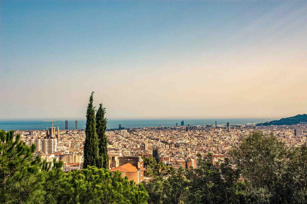 Sweeping view of Barcelona from Park Guell.