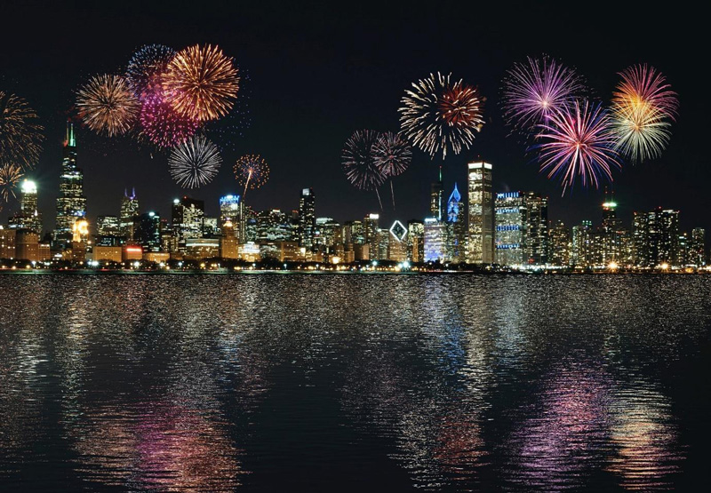 Fireworks over Chicago Illinois viewed from the water