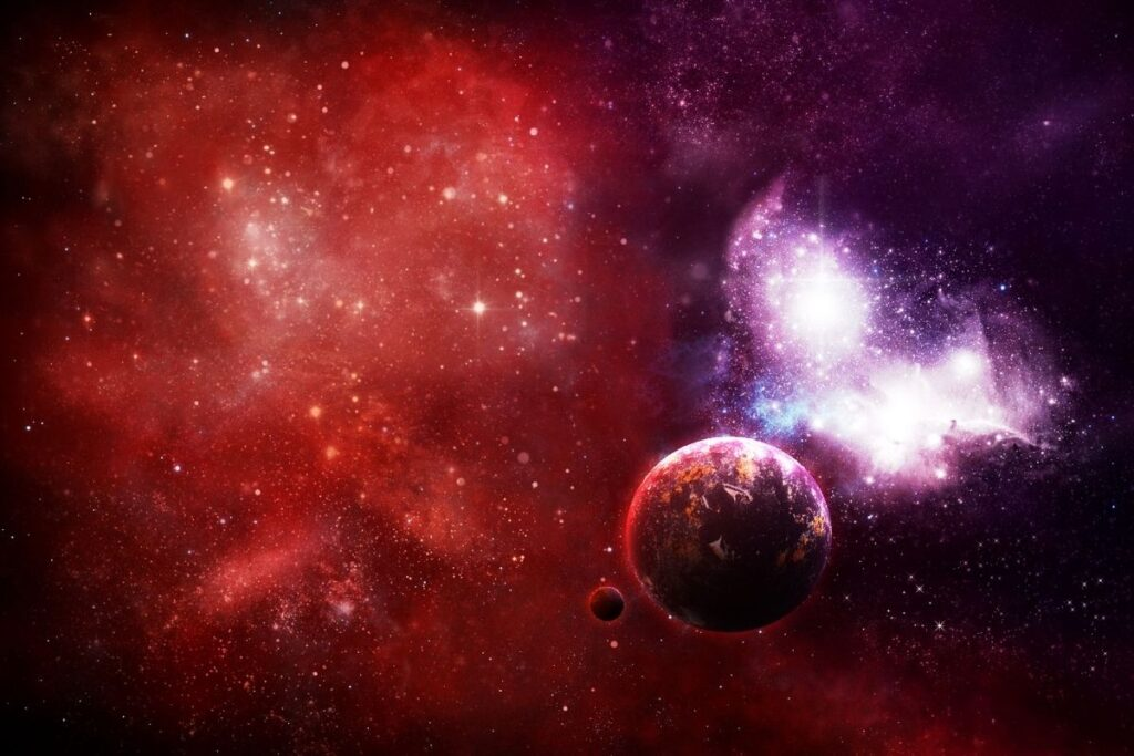 outer space scene with colorful celestial objects